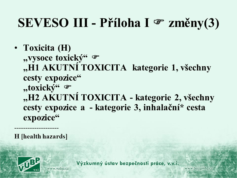 SEVESO III - Příloha I  změny(3)