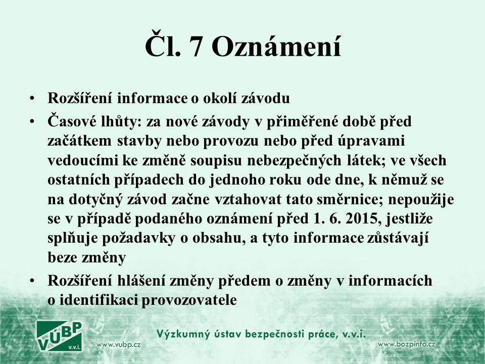 Čl. 7 Oznámení Rozšíření informace o okolí závodu