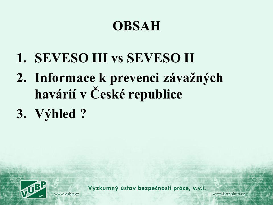 OBSAH SEVESO III vs SEVESO II Informace k prevenci závažných havárií v České republice Výhled