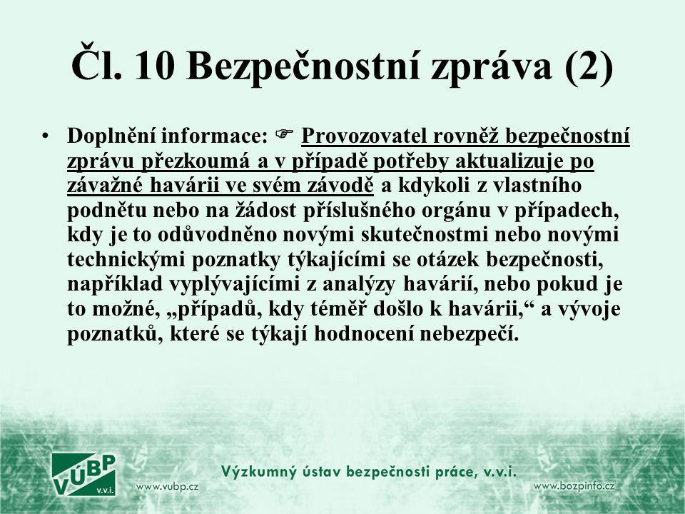 Čl. 10 Bezpečnostní zpráva (2)