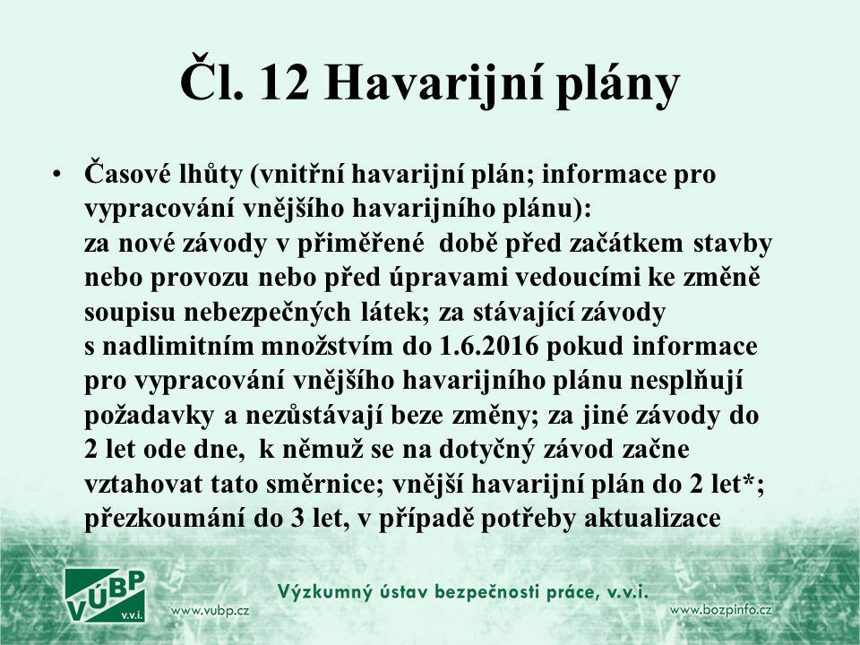 Čl. 12 Havarijní plány