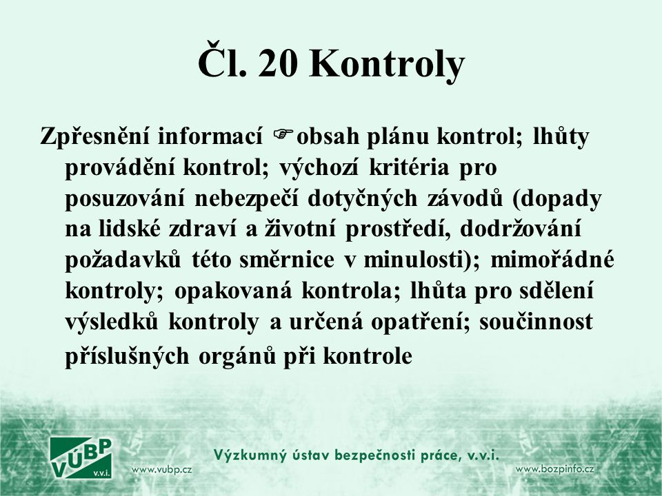 Čl. 20 Kontroly