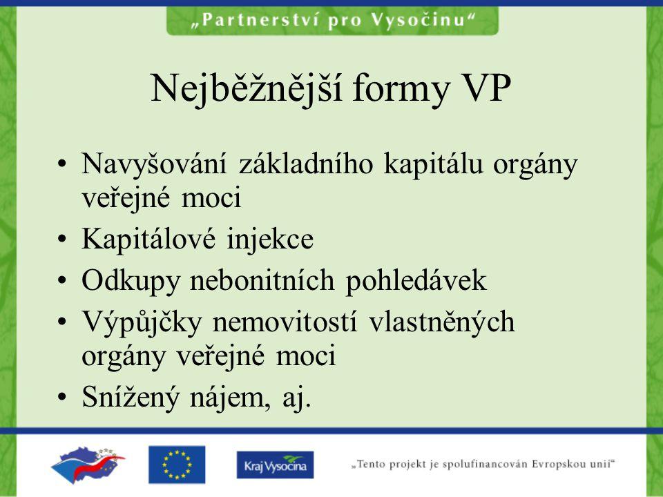 Nejběžnější formy VP Navyšování základního kapitálu orgány veřejné moci. Kapitálové injekce. Odkupy nebonitních pohledávek.