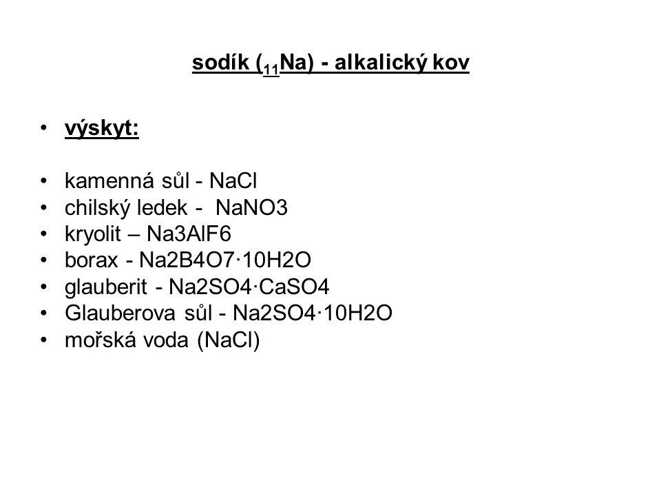 sodík (11Na) - alkalický kov