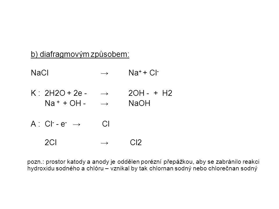 b) diafragmovým způsobem: NaCl → Na+ + Cl-