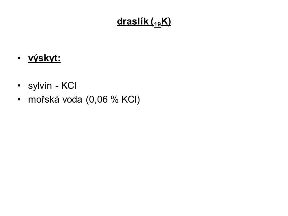 draslík (19K) výskyt: sylvín - KCl mořská voda (0,06 % KCl)