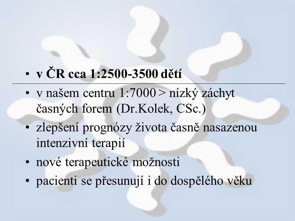 v ČR cca 1:2500-3500 dětí v našem centru 1:7000 > nízký záchyt časných forem (Dr.Kolek, CSc.)