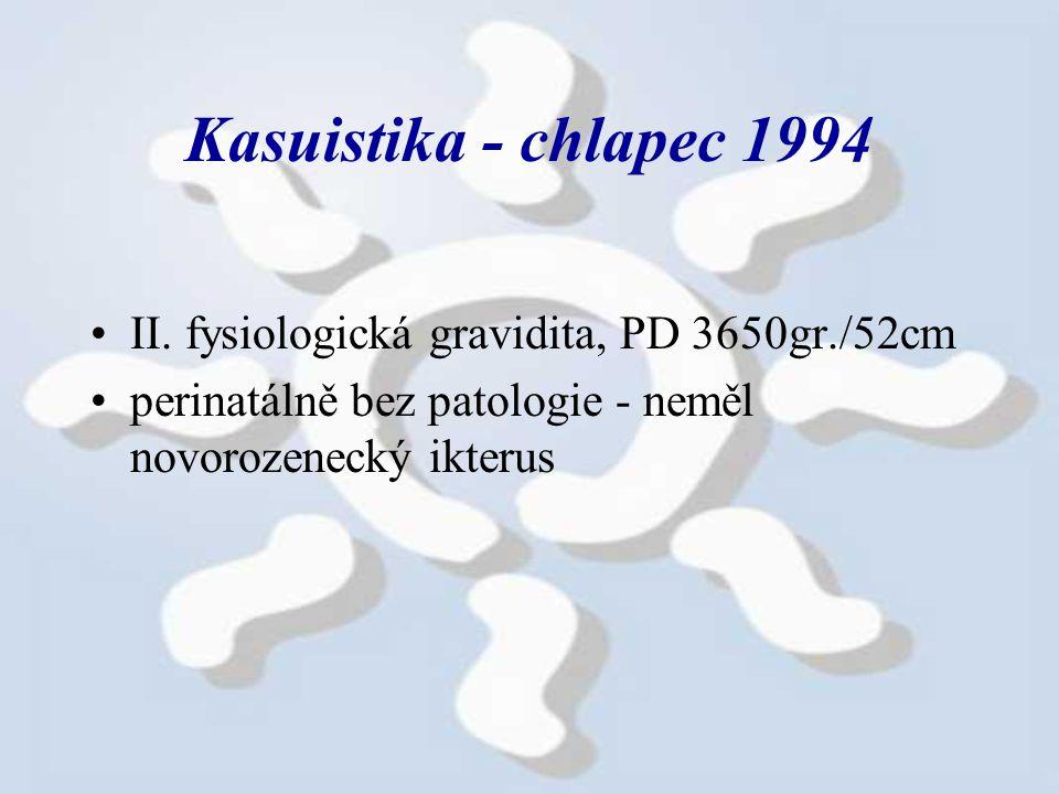 Kasuistika - chlapec 1994 II. fysiologická gravidita, PD 3650gr./52cm