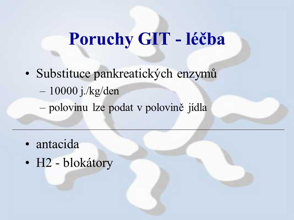 Poruchy GIT - léčba Substituce pankreatických enzymů antacida