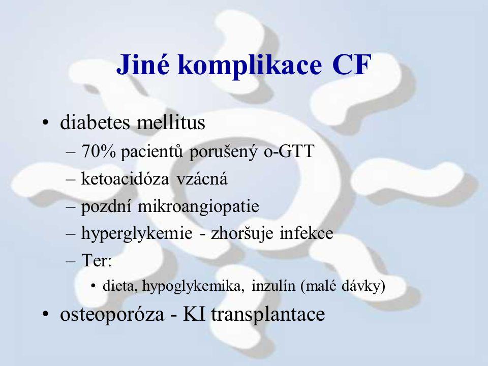 Jiné komplikace CF diabetes mellitus osteoporóza - KI transplantace