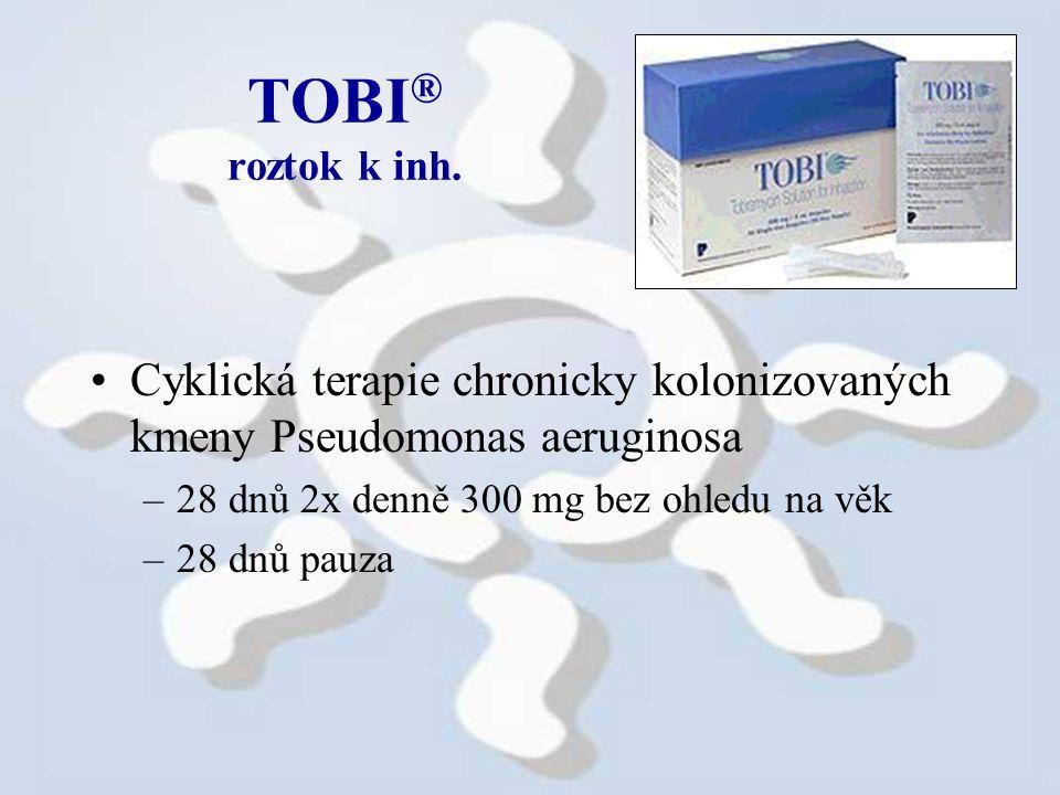 TOBI® roztok k inh. Cyklická terapie chronicky kolonizovaných kmeny Pseudomonas aeruginosa. 28 dnů 2x denně 300 mg bez ohledu na věk.