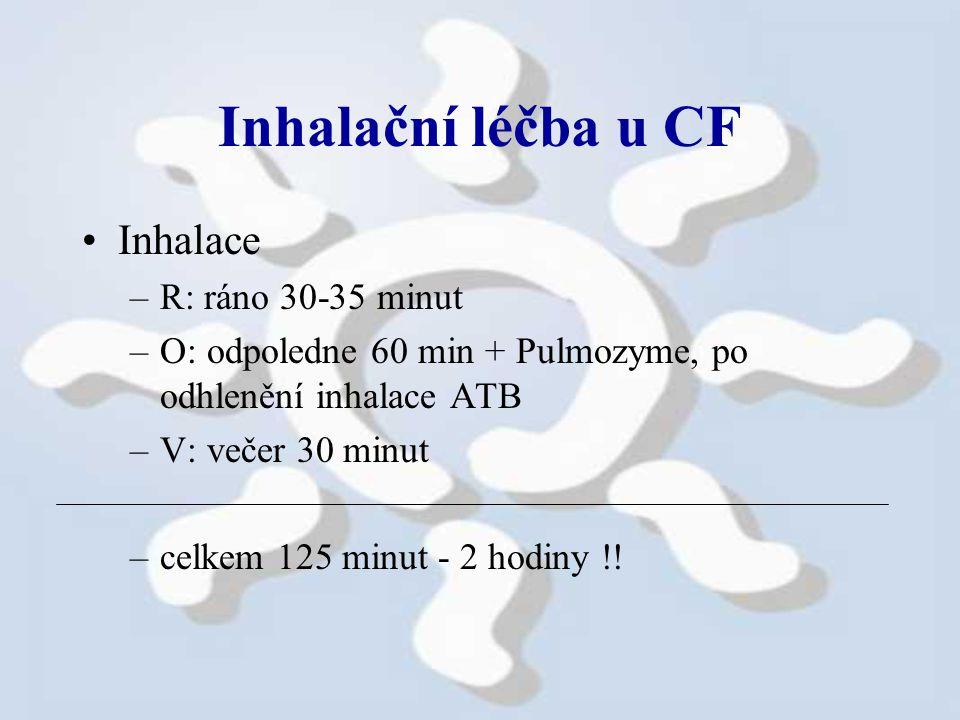 Inhalační léčba u CF Inhalace R: ráno 30-35 minut