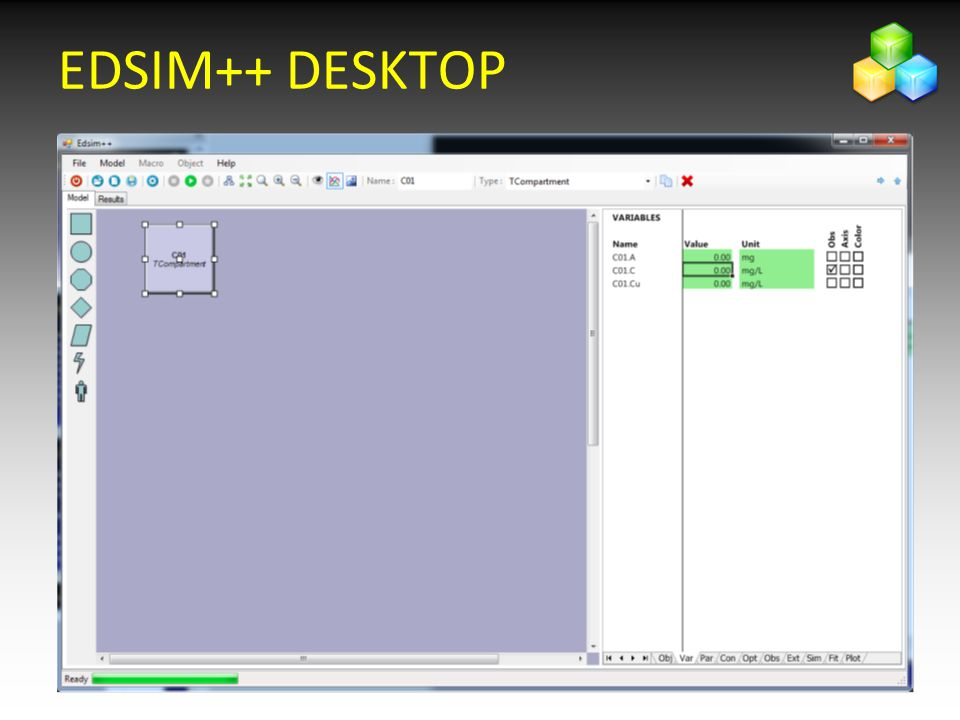 2626 Show different elements of the Edsim++ desktop EDSIM++ DESKTOP
