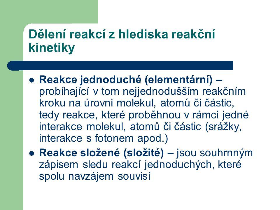 Dělení reakcí z hlediska reakční kinetiky