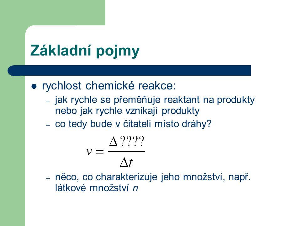 Základní pojmy rychlost chemické reakce: