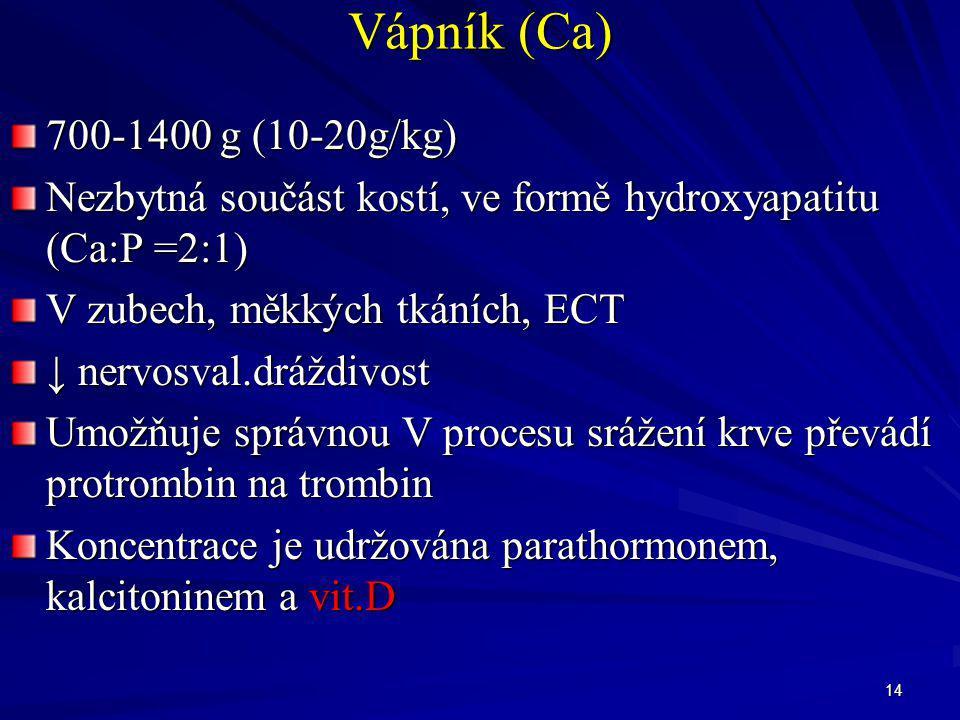 Vápník (Ca) 700-1400 g (10-20g/kg) Nezbytná součást kostí, ve formě hydroxyapatitu (Ca:P =2:1) V zubech, měkkých tkáních, ECT.