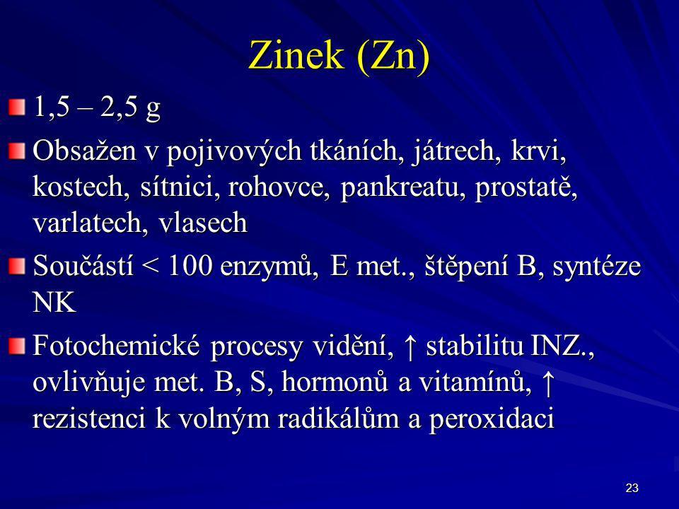 Zinek (Zn) 1,5 – 2,5 g. Obsažen v pojivových tkáních, játrech, krvi, kostech, sítnici, rohovce, pankreatu, prostatě, varlatech, vlasech.
