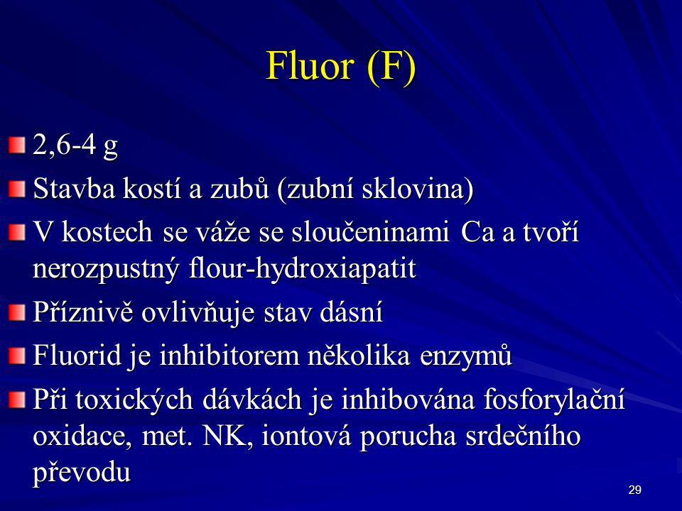 Fluor (F) 2,6-4 g Stavba kostí a zubů (zubní sklovina)