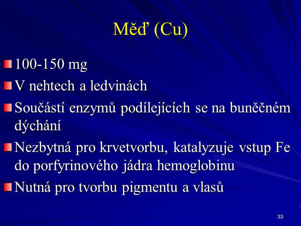 Měď (Cu) 100-150 mg V nehtech a ledvinách