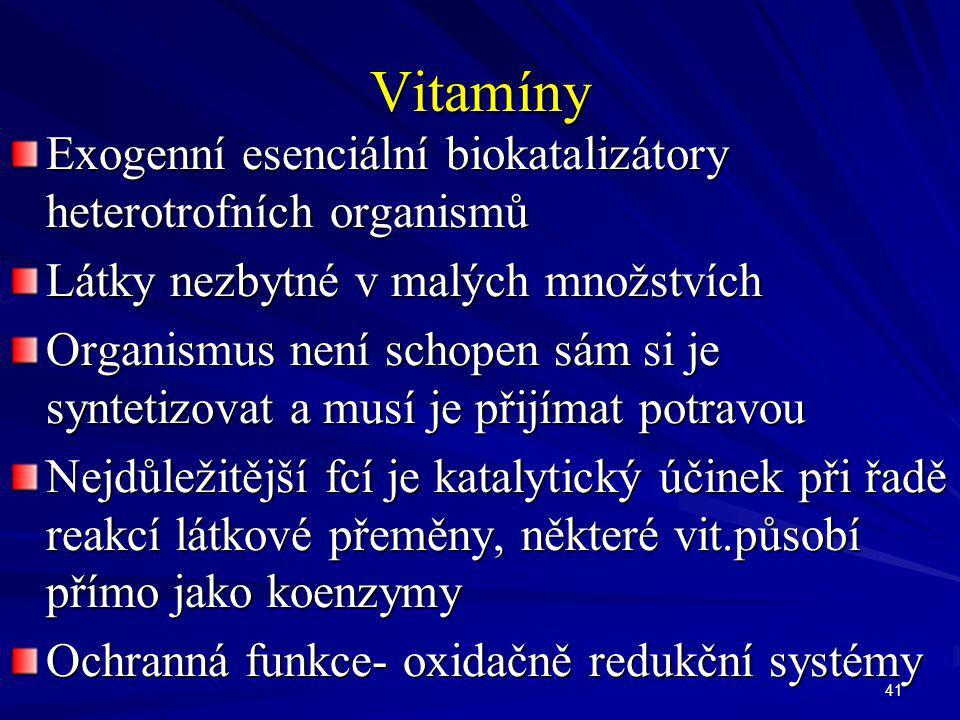 Vitamíny Exogenní esenciální biokatalizátory heterotrofních organismů