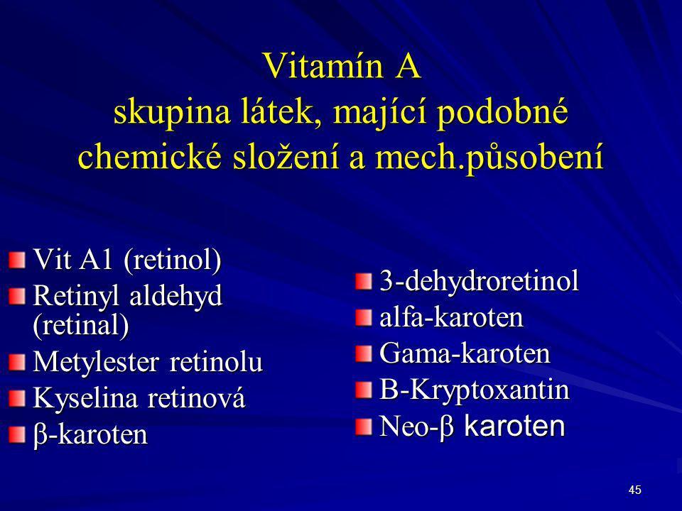 Vitamín A skupina látek, mající podobné chemické složení a mech