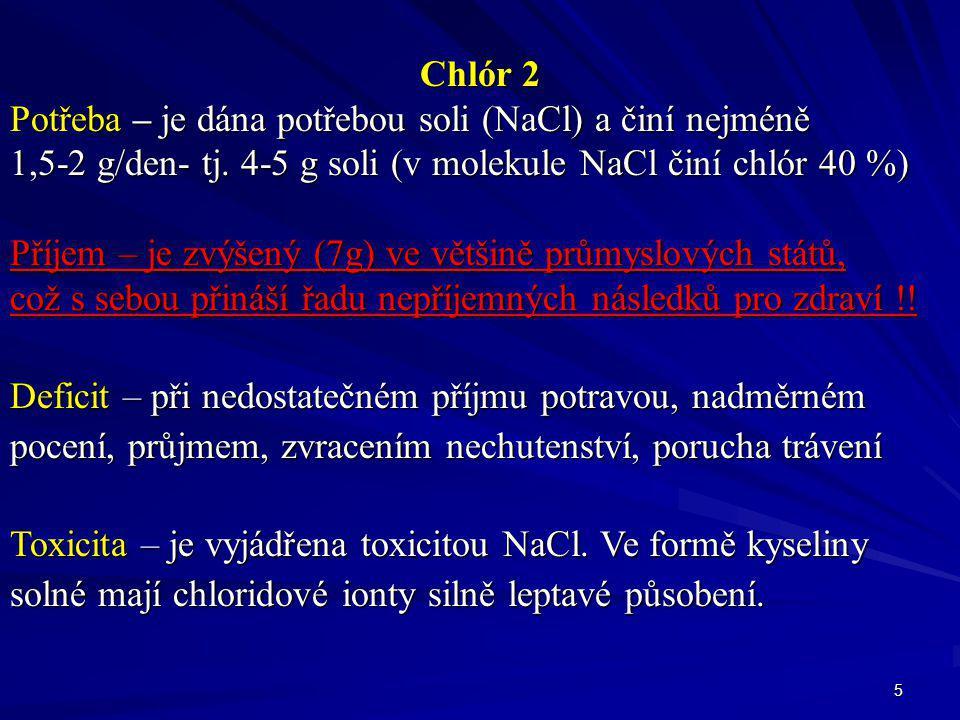 Chlór 2 Potřeba – je dána potřebou soli (NaCl) a činí nejméně. 1,5-2 g/den- tj. 4-5 g soli (v molekule NaCl činí chlór 40 %)