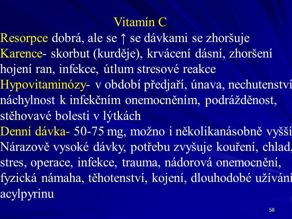 Vitamín C Resorpce dobrá, ale se ↑ se dávkami se zhoršuje. Karence- skorbut (kurděje), krvácení dásní, zhoršení.