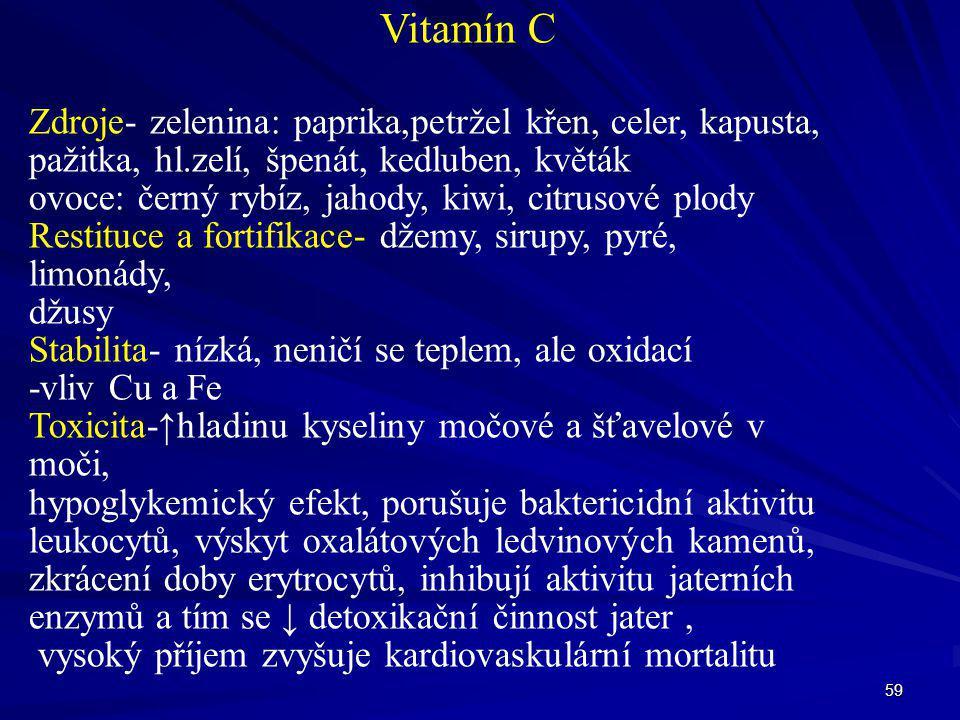 Vitamín C Zdroje- zelenina: paprika,petržel křen, celer, kapusta,