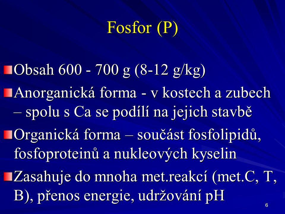 Fosfor (P) Obsah 600 - 700 g (8-12 g/kg)