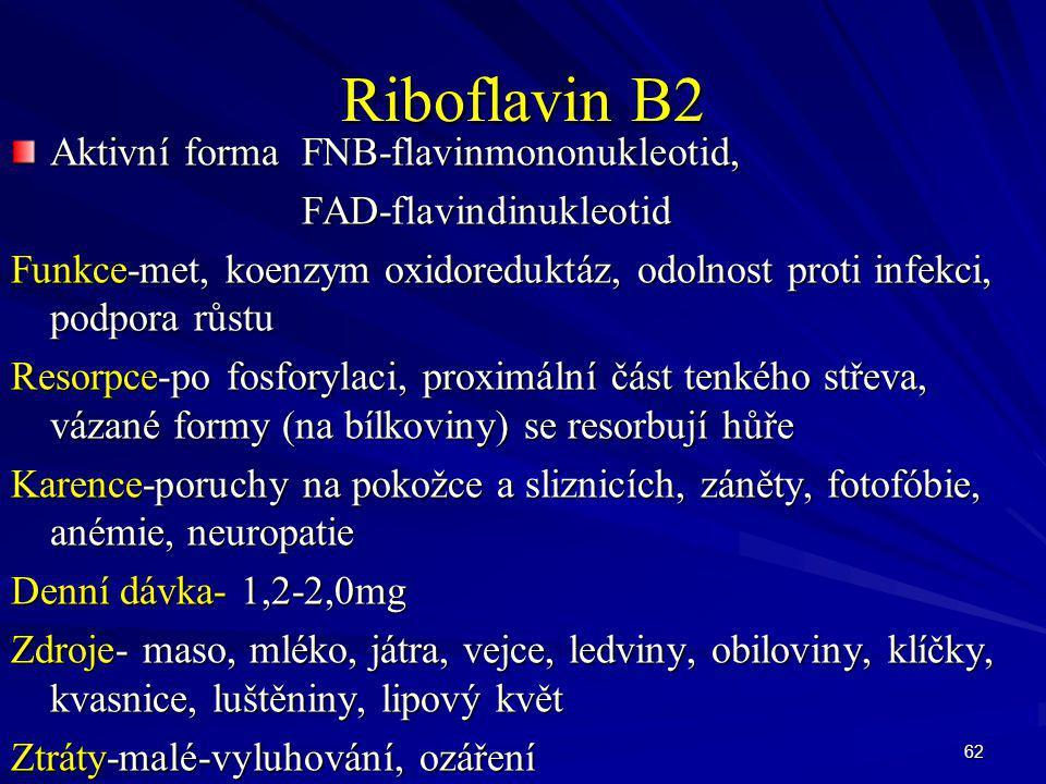 Riboflavin B2 Aktivní forma FNB-flavinmononukleotid,