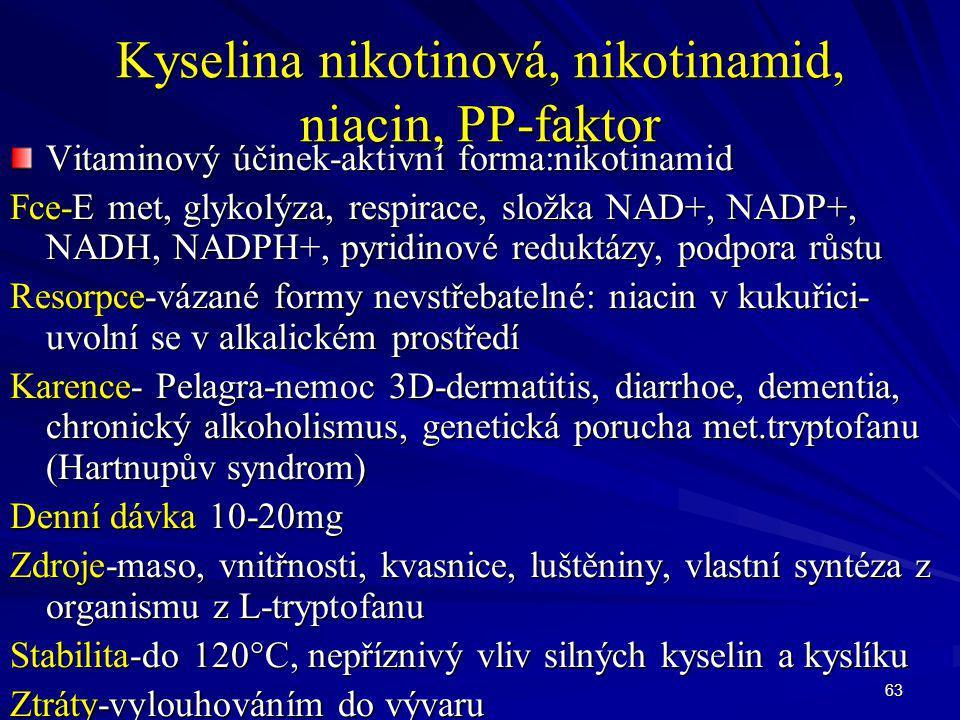 Kyselina nikotinová, nikotinamid, niacin, PP-faktor