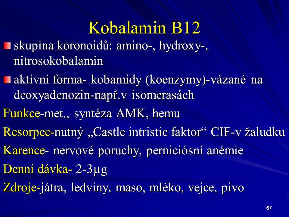 Kobalamin B12 skupina koronoidů: amino-, hydroxy-, nitrosokobalamin