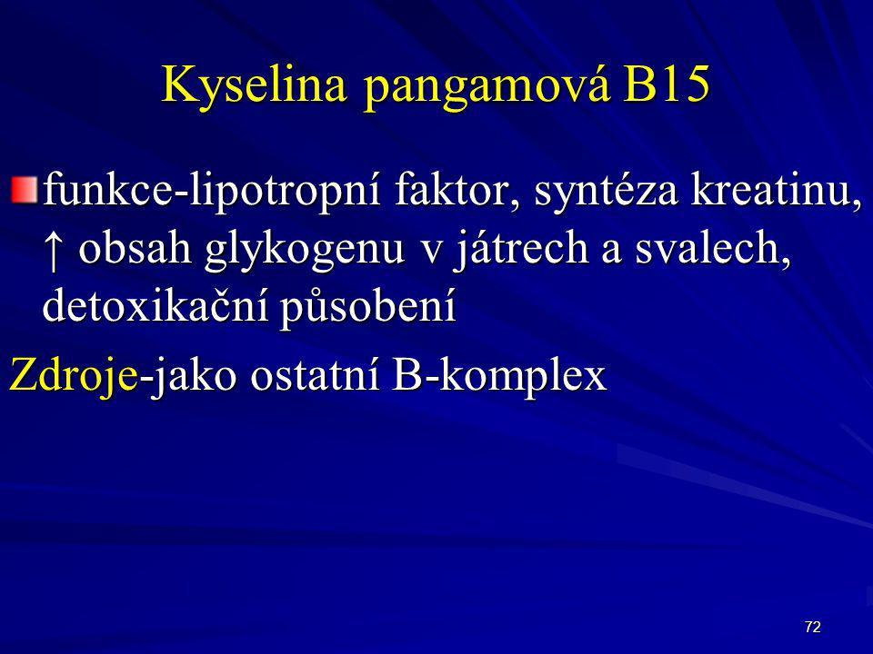 Kyselina pangamová B15 funkce-lipotropní faktor, syntéza kreatinu, ↑ obsah glykogenu v játrech a svalech, detoxikační působení.
