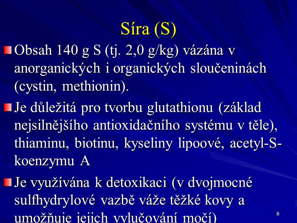 Síra (S) Obsah 140 g S (tj. 2,0 g/kg) vázána v anorganických i organických sloučeninách (cystin, methionin).