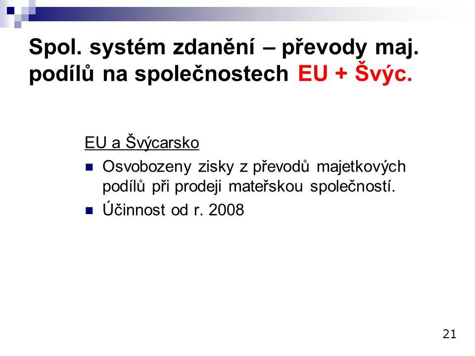Spol. systém zdanění – převody maj. podílů na společnostech EU + Švýc.
