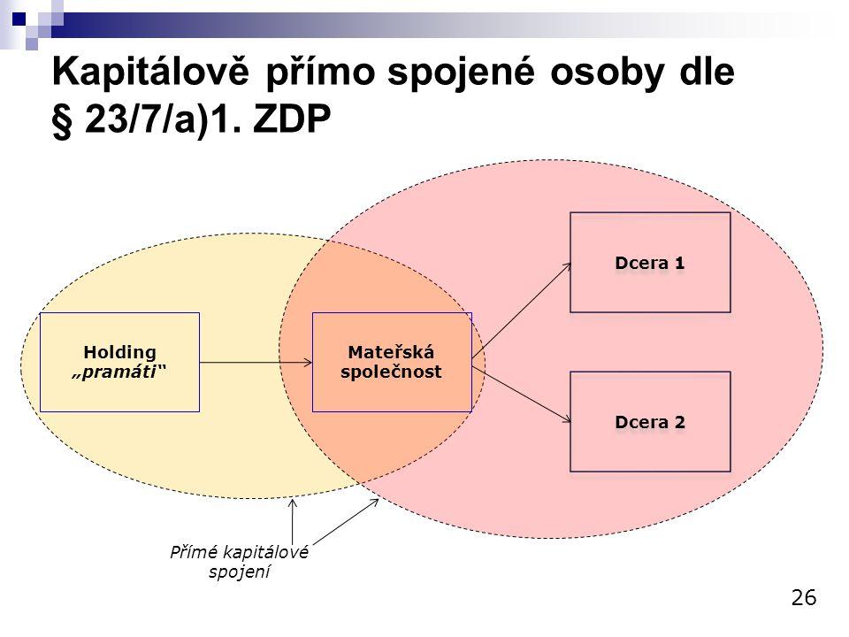Kapitálově přímo spojené osoby dle § 23/7/a)1. ZDP