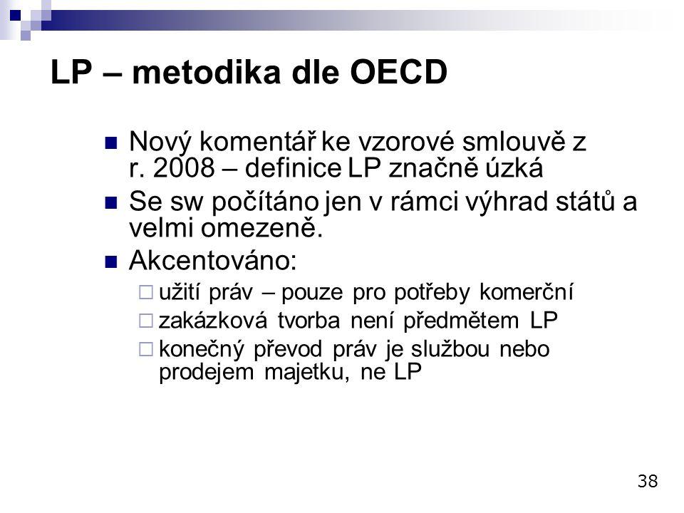 LP – metodika dle OECD Nový komentář ke vzorové smlouvě z r. 2008 – definice LP značně úzká.