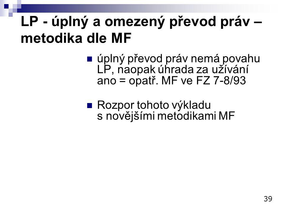 LP - úplný a omezený převod práv – metodika dle MF