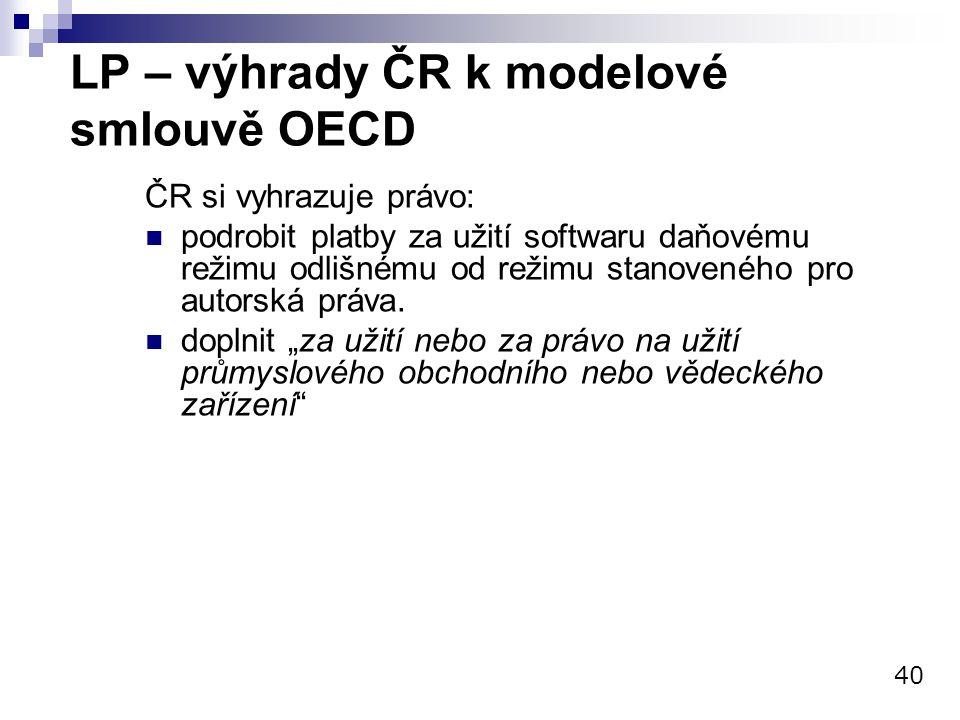 LP – výhrady ČR k modelové smlouvě OECD