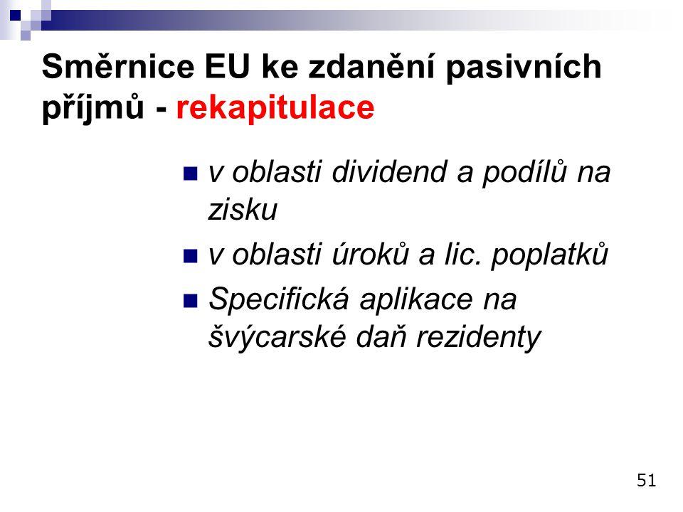 Směrnice EU ke zdanění pasivních příjmů - rekapitulace