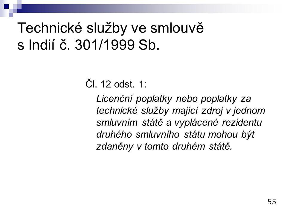 Technické služby ve smlouvě s Indií č. 301/1999 Sb.