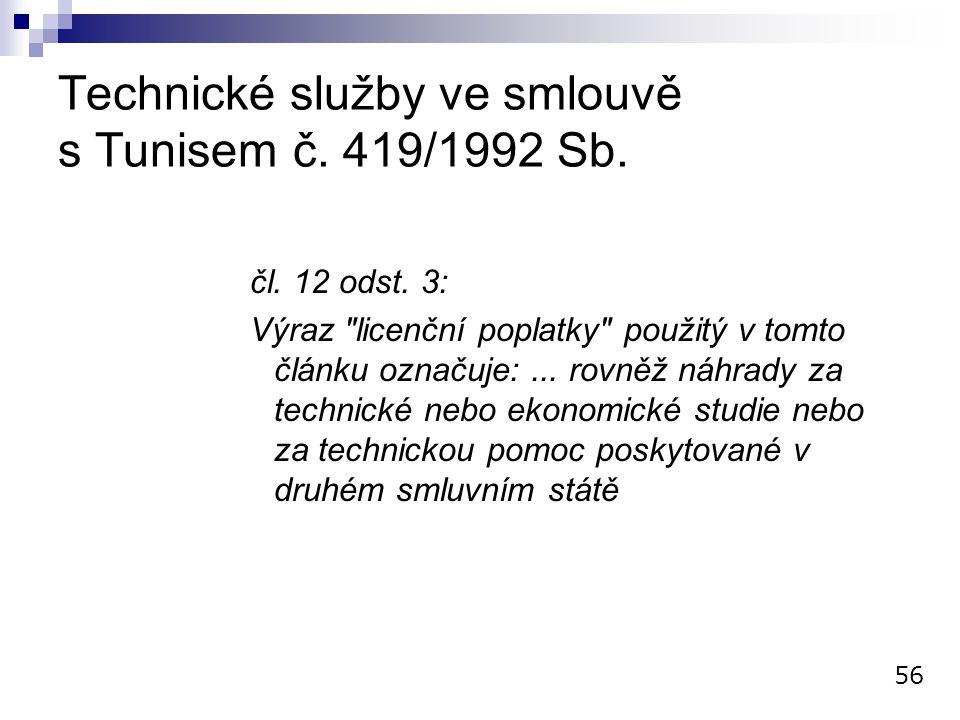 Technické služby ve smlouvě s Tunisem č. 419/1992 Sb.