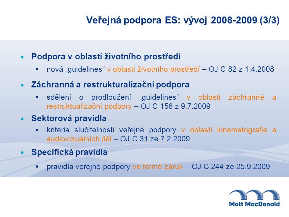 Veřejná podpora ES: vývoj 2008-2009 (3/3)