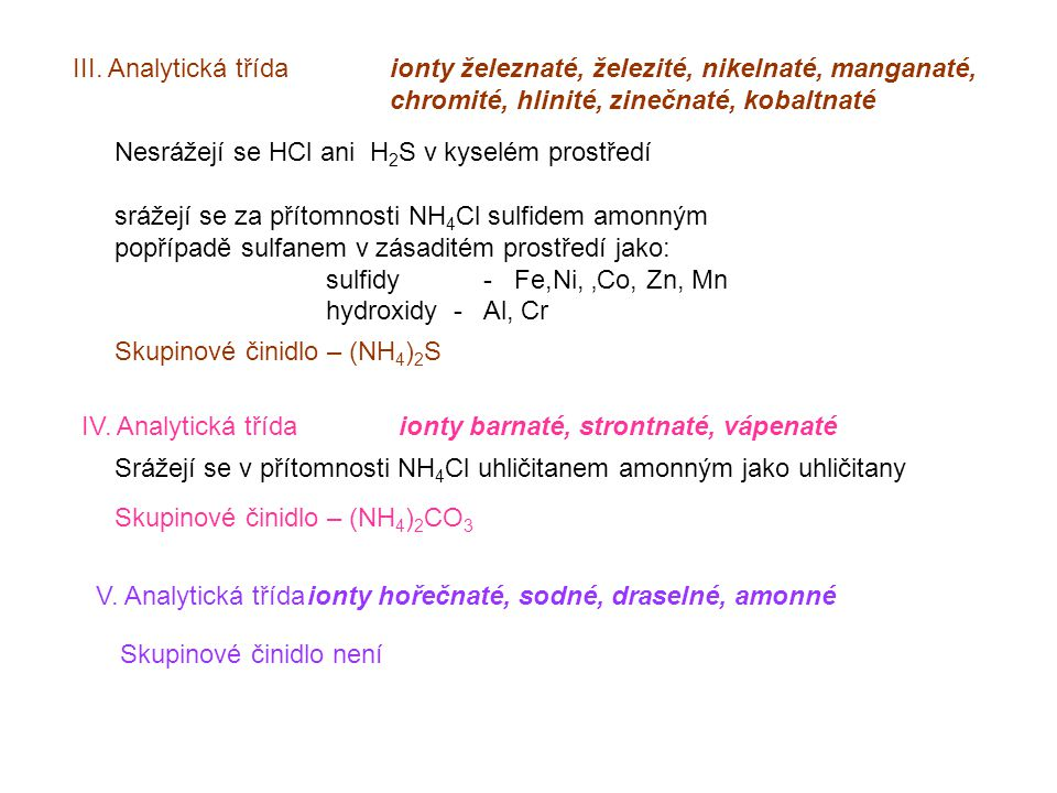 III. Analytická třída ionty železnaté, železité, nikelnaté, manganaté,