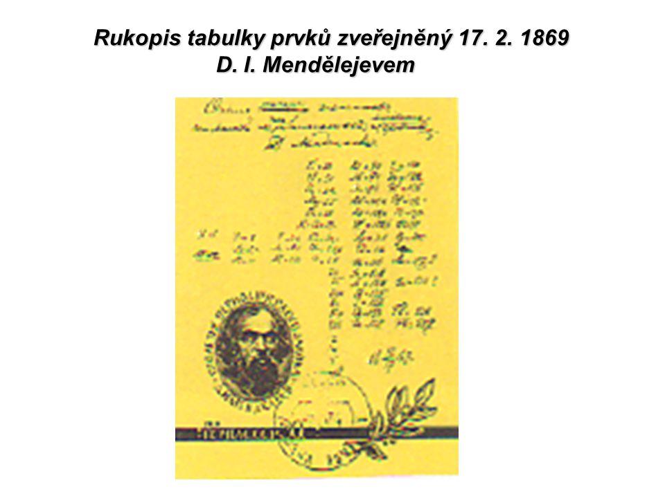 Rukopis tabulky prvků zveřejněný 17. 2. 1869