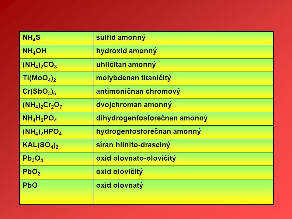 NH4S sulfid amonný. NH4OH. hydroxid amonný. (NH4)2CO3. uhličitan amonný. Ti(MoO4)2. molybdenan titaničitý.