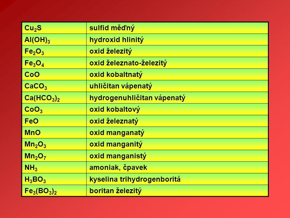 Cu2S sulfid měďný. Al(OH)3. hydroxid hlinitý. Fe2O3. oxid železitý. Fe3O4. oxid železnato-železitý.