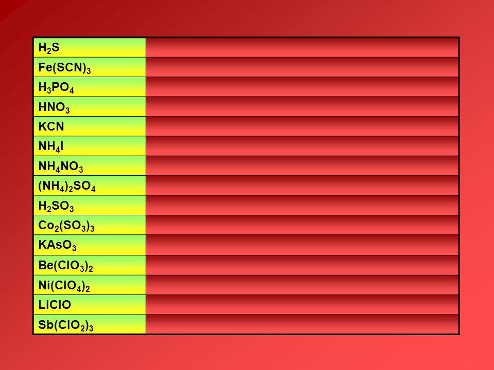 H2S Fe(SCN)3. H3PO4. HNO3. KCN. NH4I. NH4NO3. (NH4)2SO4. H2SO3. Co2(SO3)3. KAsO3. Be(ClO3)2.