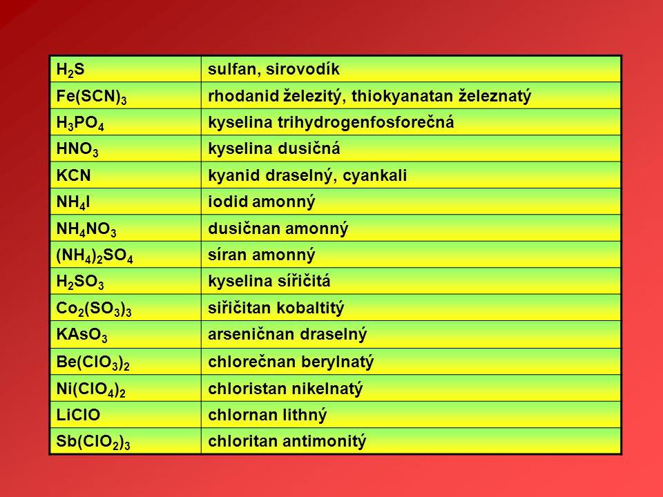 H2S sulfan, sirovodík. Fe(SCN)3. rhodanid železitý, thiokyanatan železnatý. H3PO4. kyselina trihydrogenfosforečná.