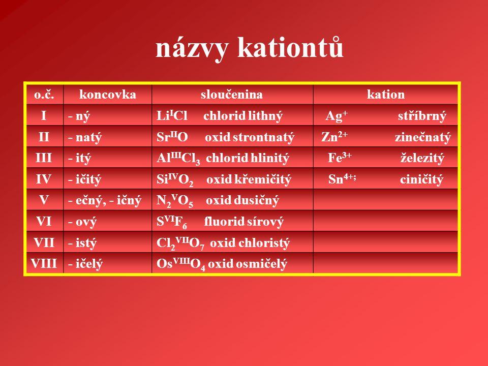 názvy kationtů o.č. koncovka sloučenina kation I - ný